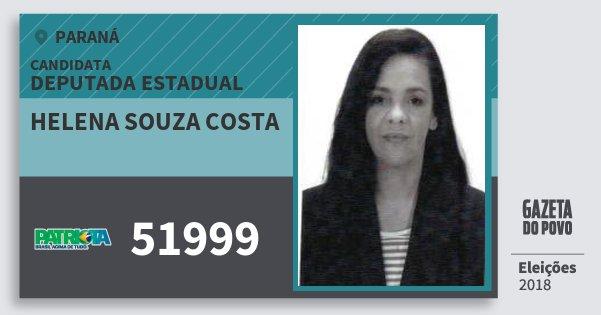 Santinho Helena Souza Costa 51999 (PATRI) Deputada Estadual | Paraná | Eleições 2018