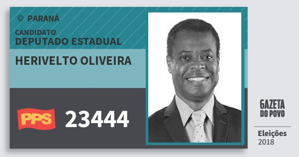 Santinho Herivelto Oliveira 23444 (PPS) Deputado Estadual | Paraná | Eleições 2018