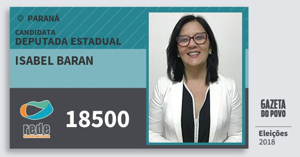 Santinho Isabel Baran 18500 (REDE) Deputada Estadual | Paraná | Eleições 2018