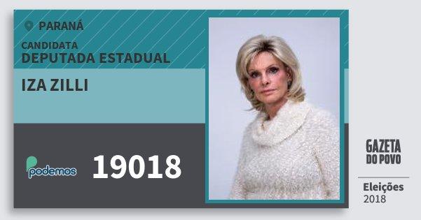 Santinho Iza Zilli 19018 (PODE) Deputada Estadual | Paraná | Eleições 2018