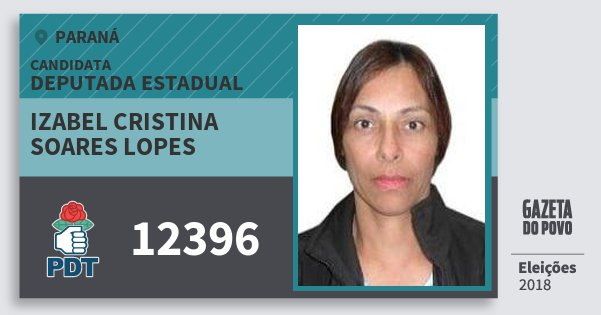 Santinho Izabel Cristina Soares Lopes 12396 (PDT) Deputada Estadual | Paraná | Eleições 2018