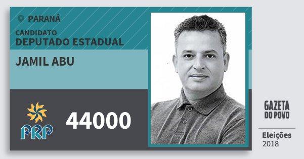 Santinho Jamil Abu 44000 (PRP) Deputado Estadual | Paraná | Eleições 2018