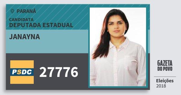 Santinho Janayna 27776 (DC) Deputada Estadual | Paraná | Eleições 2018