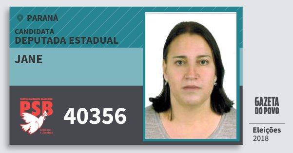 Santinho Jane 40356 (PSB) Deputada Estadual | Paraná | Eleições 2018