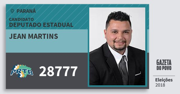Santinho Jean Martins 28777 (PRTB) Deputado Estadual | Paraná | Eleições 2018