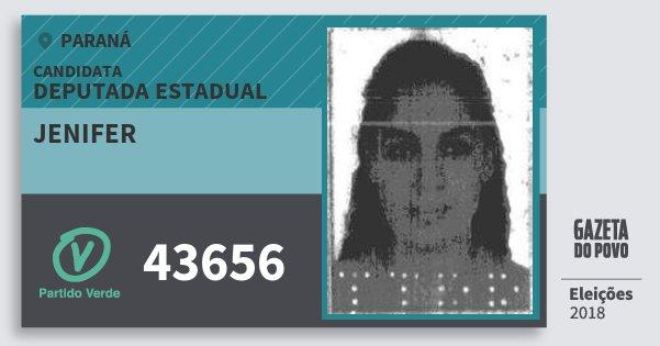 Santinho Jenifer 43656 (PV) Deputada Estadual | Paraná | Eleições 2018