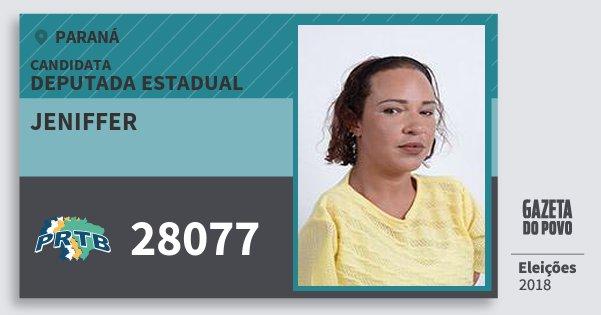 Santinho Jeniffer 28077 (PRTB) Deputada Estadual | Paraná | Eleições 2018