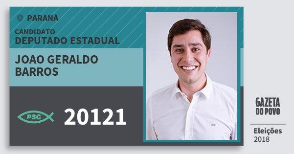 Santinho Joao Geraldo Barros 20121 (PSC) Deputado Estadual | Paraná | Eleições 2018