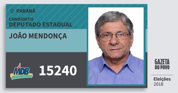 Santinho João Mendonça 15240 (MDB) Deputado Estadual | Paraná | Eleições 2018