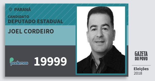 Santinho Joel Cordeiro 19999 (PODE) Deputado Estadual | Paraná | Eleições 2018