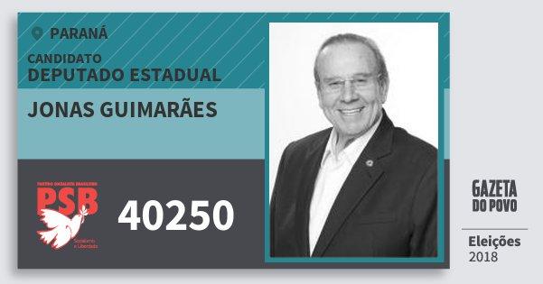 Santinho Jonas Guimarães 40250 (PSB) Deputado Estadual | Paraná | Eleições 2018