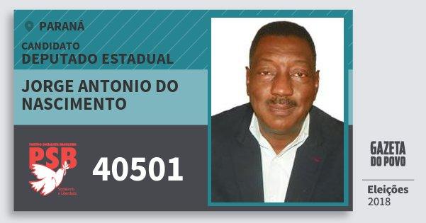 Santinho Jorge Antonio do Nascimento 40501 (PSB) Deputado Estadual | Paraná | Eleições 2018