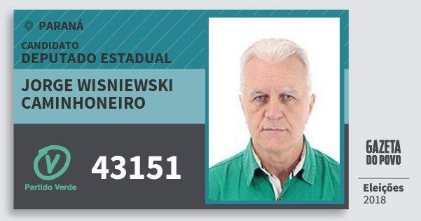 Santinho Jorge Wisniewski Caminhoneiro 43151 (PV) Deputado Estadual | Paraná | Eleições 2018