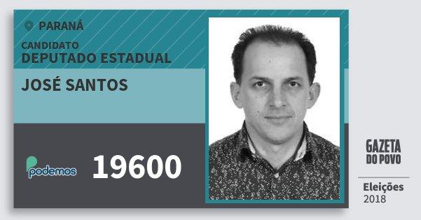 Santinho José Santos 19600 (PODE) Deputado Estadual | Paraná | Eleições 2018