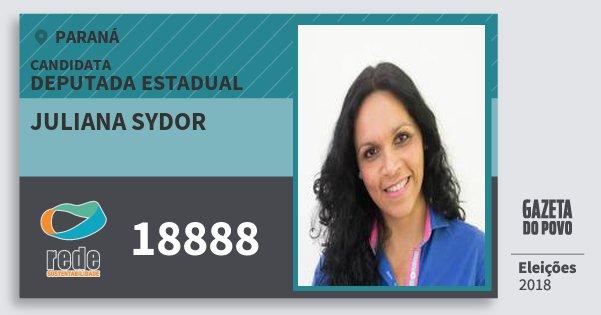 Santinho Juliana Sydor 18888 (REDE) Deputada Estadual | Paraná | Eleições 2018