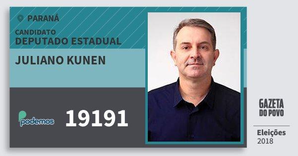 Santinho Juliano Kunen 19191 (PODE) Deputado Estadual | Paraná | Eleições 2018