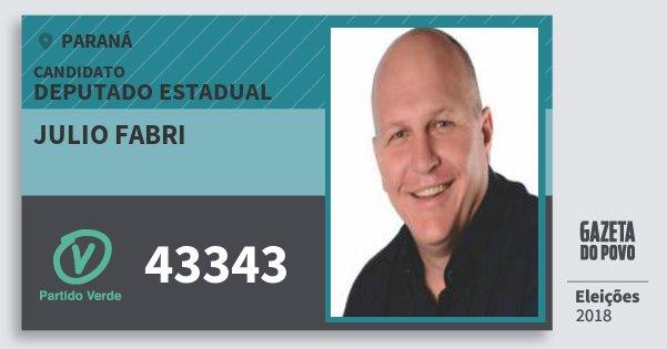 Santinho Julio Fabri 43343 (PV) Deputado Estadual | Paraná | Eleições 2018