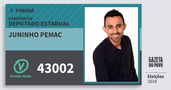 Santinho Juninho Pemac 43002 (PV) Deputado Estadual | Paraná | Eleições 2018