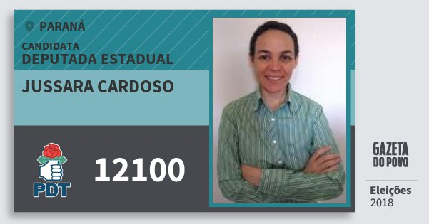 Santinho Jussara Cardoso 12100 (PDT) Deputada Estadual | Paraná | Eleições 2018