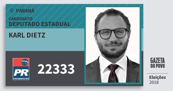 Santinho Karl Dietz 22333 (PR) Deputado Estadual | Paraná | Eleições 2018