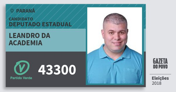 Santinho Leandro da Academia 43300 (PV) Deputado Estadual | Paraná | Eleições 2018