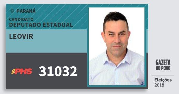 Santinho Leovir 31032 (PHS) Deputado Estadual | Paraná | Eleições 2018