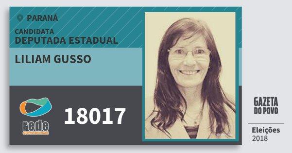 Santinho Liliam Gusso 18017 (REDE) Deputada Estadual | Paraná | Eleições 2018