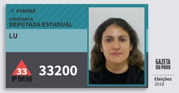 Santinho Lu 33200 (PMN) Deputada Estadual | Paraná | Eleições 2018