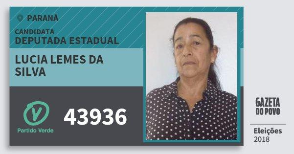Santinho Lucia Lemes da Silva 43936 (PV) Deputada Estadual | Paraná | Eleições 2018