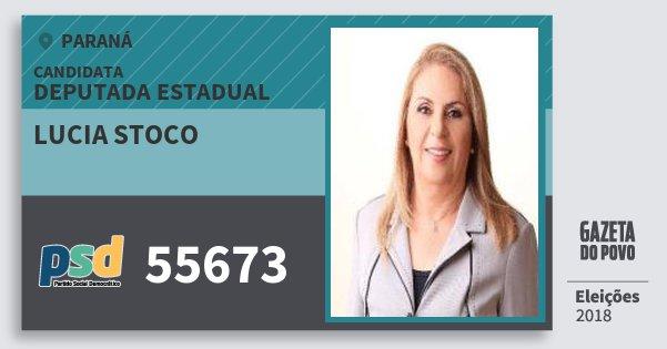Santinho Lucia Stoco 55673 (PSD) Deputada Estadual | Paraná | Eleições 2018