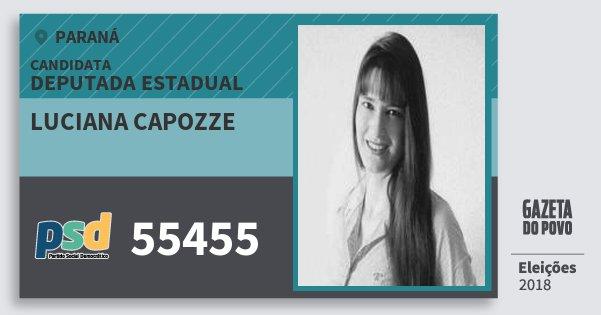Santinho Luciana Capozze 55455 (PSD) Deputada Estadual | Paraná | Eleições 2018