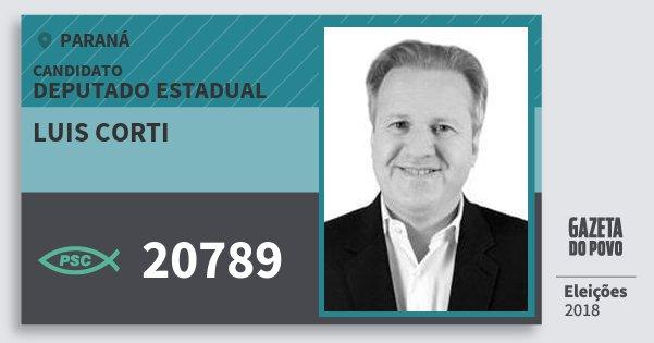 Santinho Luis Corti 20789 (PSC) Deputado Estadual | Paraná | Eleições 2018