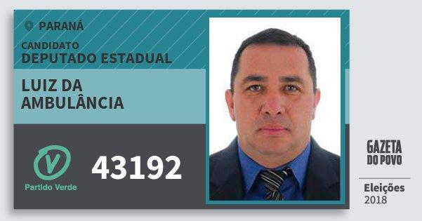 Santinho Luiz da Ambulância 43192 (PV) Deputado Estadual | Paraná | Eleições 2018