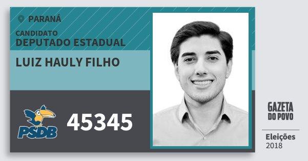 Santinho Luiz Hauly Filho 45345 (PSDB) Deputado Estadual | Paraná | Eleições 2018