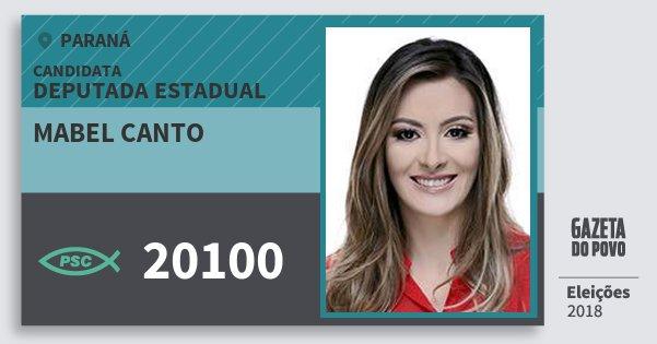 Santinho Mabel Canto 20100 (PSC) Deputada Estadual | Paraná | Eleições 2018
