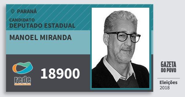 Santinho Manoel Miranda 18900 (REDE) Deputado Estadual | Paraná | Eleições 2018