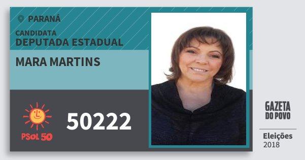 Santinho Mara Martins 50222 (PSOL) Deputada Estadual | Paraná | Eleições 2018