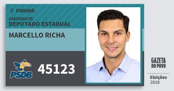 Santinho Marcello Richa 45123 (PSDB) Deputado Estadual | Paraná | Eleições 2018