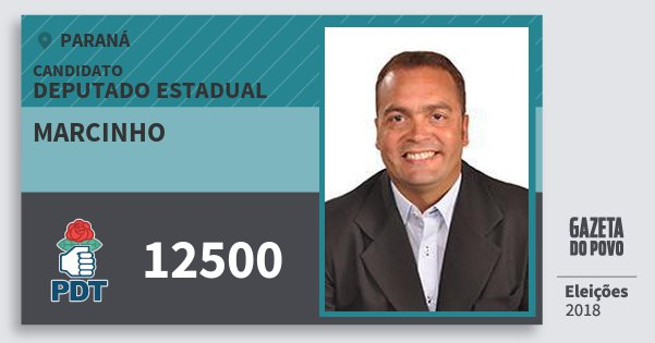 Santinho Marcinho 12500 (PDT) Deputado Estadual | Paraná | Eleições 2018