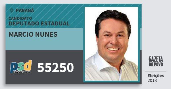 Santinho Marcio Nunes 55250 (PSD) Deputado Estadual | Paraná | Eleições 2018