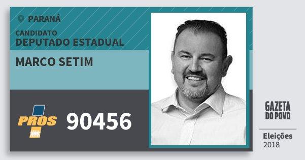 Santinho Marco Setim 90456 (PROS) Deputado Estadual   Paraná   Eleições 2018
