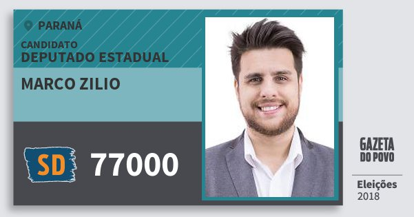 Santinho Marco Zilio 77000 (SOLIDARIEDADE) Deputado Estadual | Paraná | Eleições 2018