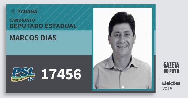 Santinho Marcos Dias 17456 (PSL) Deputado Estadual | Paraná | Eleições 2018