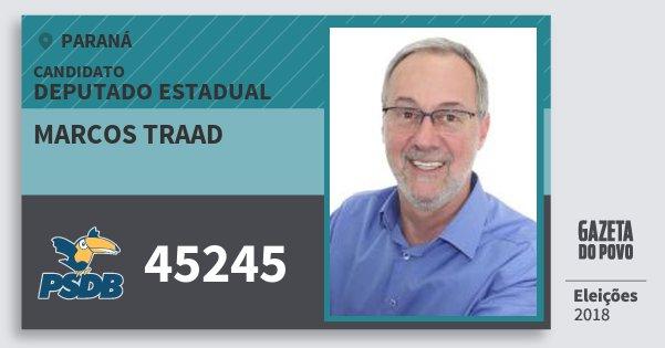 Santinho Marcos Traad 45245 (PSDB) Deputado Estadual | Paraná | Eleições 2018