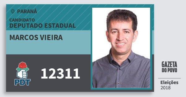 Santinho Marcos Vieira 12311 (PDT) Deputado Estadual | Paraná | Eleições 2018