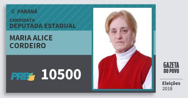 Santinho Maria Alice Cordeiro 10500 (PRB) Deputada Estadual | Paraná | Eleições 2018