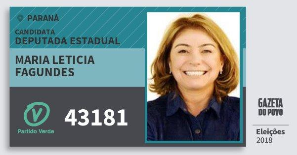 Santinho Maria Leticia Fagundes 43181 (PV) Deputada Estadual | Paraná | Eleições 2018