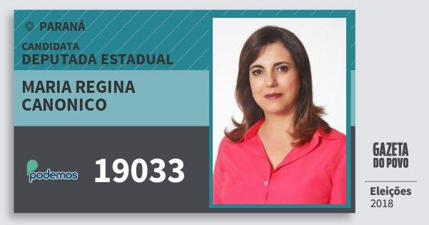 Santinho Maria Regina Canonico 19033 (PODE) Deputada Estadual | Paraná | Eleições 2018