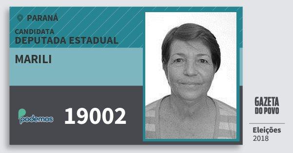 Santinho Marili 19002 (PODE) Deputada Estadual   Paraná   Eleições 2018