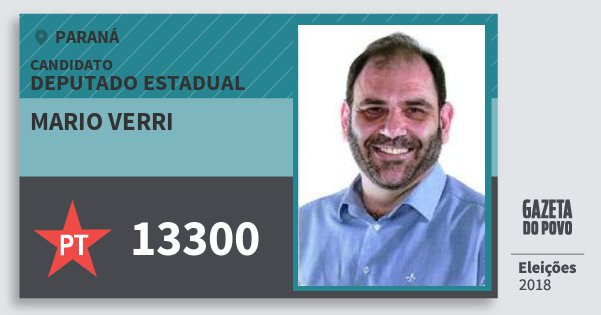 Santinho Mario Verri 13300 (PT) Deputado Estadual | Paraná | Eleições 2018